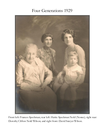 Memory Book page showing four generations of a family together